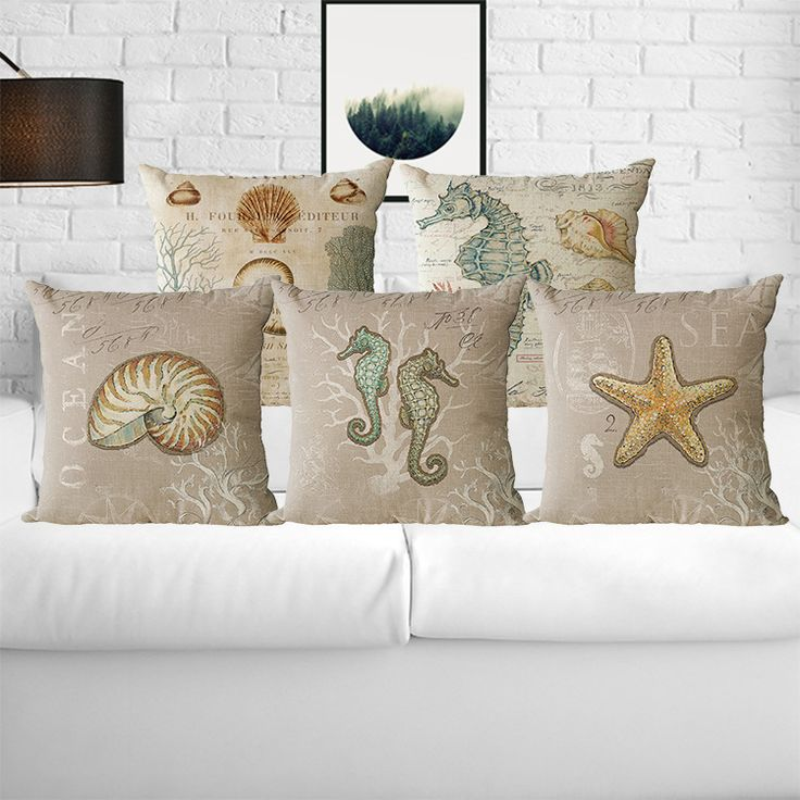 Mediterranean Style Cushion Cover Blue Sea Plants Throw Pillow Case Decorative Beach Hippocampu And shell  #Affiliate
