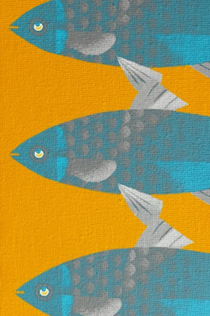 Poster - Blue Fish on a Yellow River