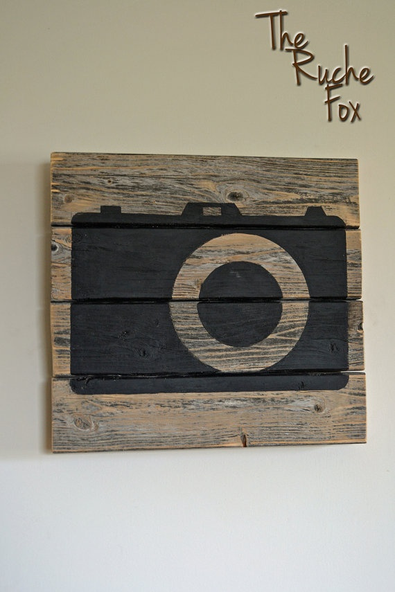 Camera Silhouette on Wood Picture Hand painted by TheRucheFox, $40.00