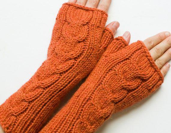 Orange mittens https://www.etsy.com/listing/192780267/alpaca-wool-cabled-fingerless-mittens