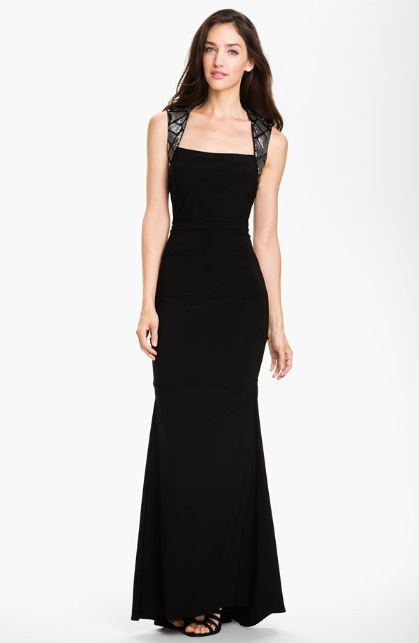 Sequin Strap Jersey Long Black Dress