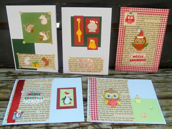 Christmas Animals  set of 5 handmade cards by RogueKissedCraft