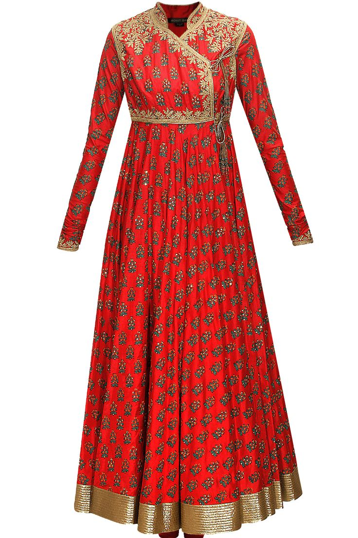 Red block printed angrakha style anarkali set available only at Pernia's Pop-Up Shop.