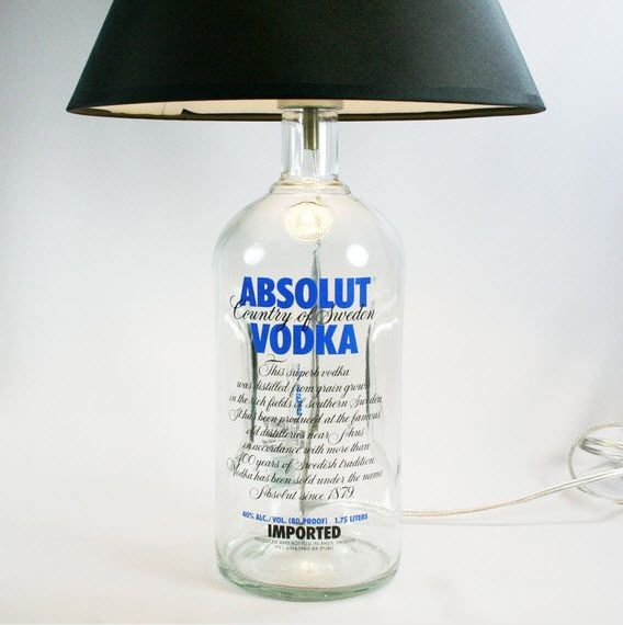 Con botellas: Recycled Bottle, Absolutely Vodka, Bottle Lamps, Basements Bar, Cool Bar Ideas, Wine Bottle, Lamps Based, Mercury Glasses Lamps, Vodka Bottle