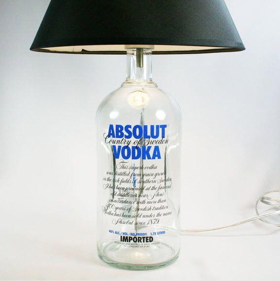 Con botellasGoogle Image, S'Mores Bar, Absolute Vodka, Mercury Glass, Bottle Lamps, Basements Bar, Cool Bar Ideas, Wine Bottle, Vodka Bottle