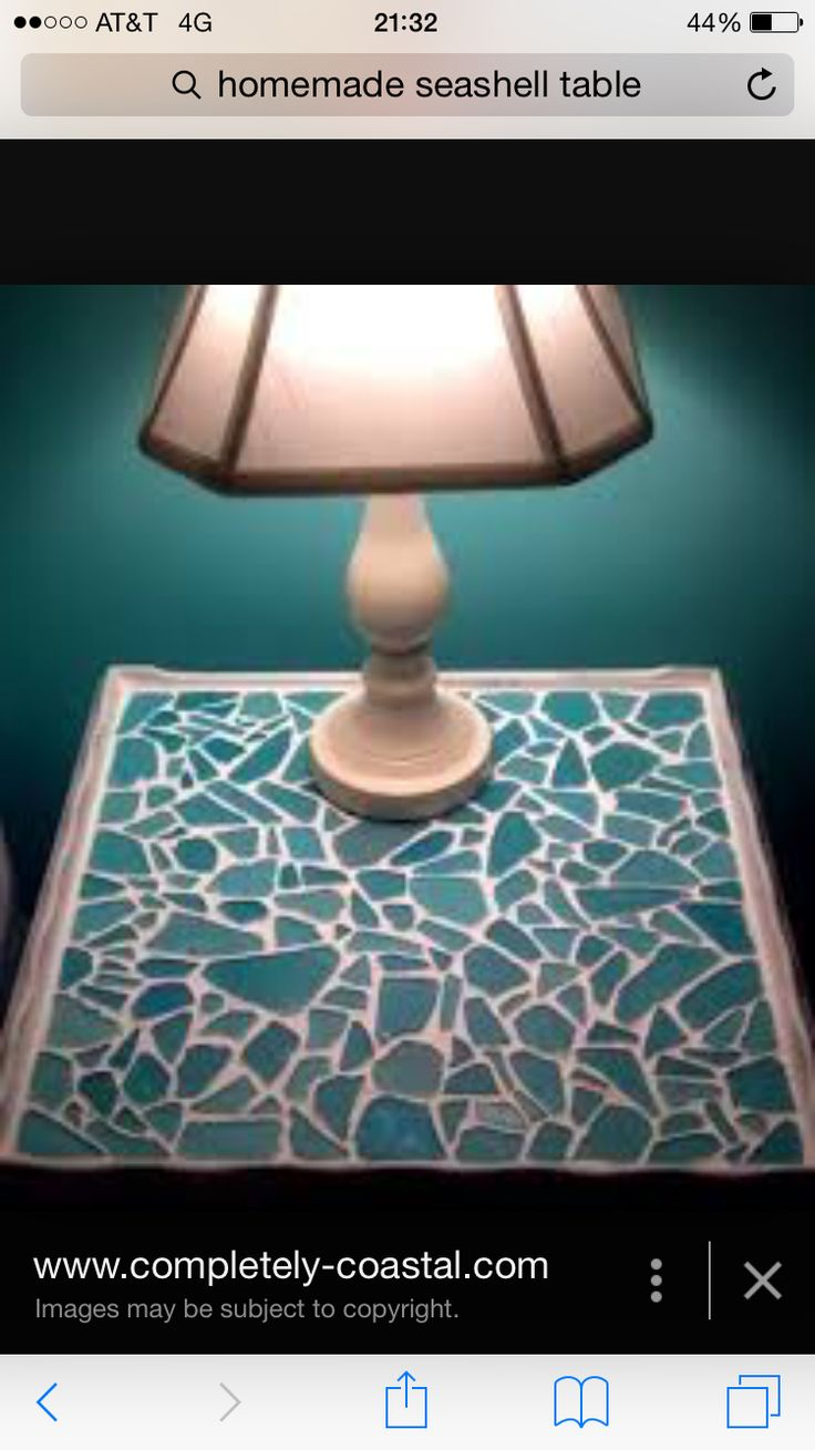 Decor nautical shell mirrors w sea glass starfish amp pearls blue - A Sea Glass Table An Old Table Was Made Over With A Sea Glass Mosaic The Table Top Was Spray Painted White First Then Sea Glass Pieces Were Adhered With