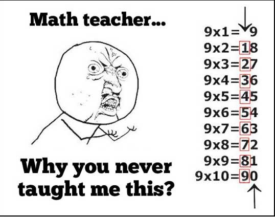 Math teacher…I will show this to my students someday!! might help them out! I always thought 9's were the hardest to learn