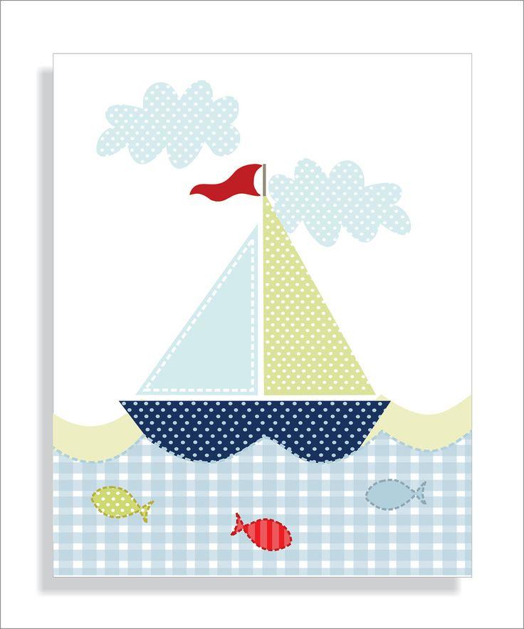 Whale, Lighthouse and Sailboat Childrens Art Prints, Nursery wall art, Boy's nursery -Set of three 11x14. $28.00, via Etsy.