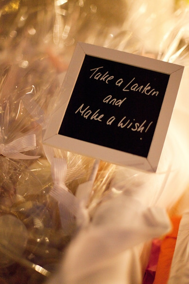 This is so cool... Have your guests write on the lanterns and then when it's dark/your leaving the reception you release the lit lanterns!