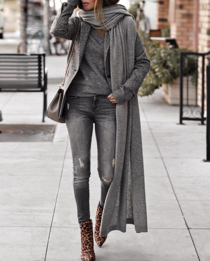 Long gray cardigan outfit #fashion #greyoutfit #ideas #outfitideas #mode #moda # ideas #outfitideeen # fashion trends # classy #style