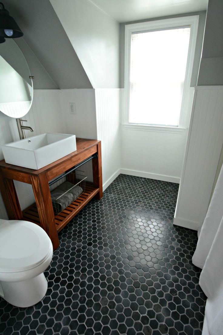 31 best bathroom flooring images on pinterest bathroom flooring small inexpensive bath reveal beadboard farmhouseblack hex tile floor sherwin dailygadgetfo Image collections