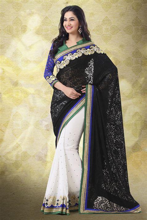 Designer Half-Half Black, White Brasso Indian Saree