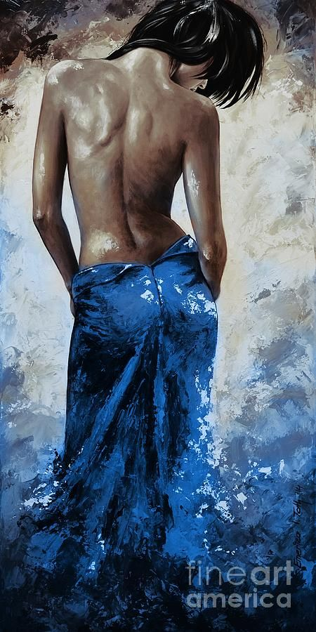 Lady In Red 27re Blue Color Version Large Painting