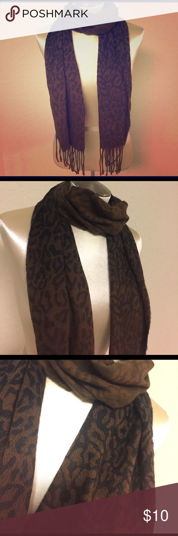 Selling this Brown Ombré Leopard Print Scarf with Tassels on Poshmark! My username is: hannahleigh870. #shopmycloset #poshmark #fashion #shopping #style #forsale #Accessories