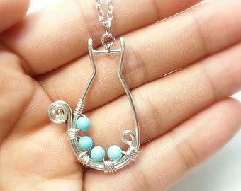 gatto collana, filo avvolto gioielli fatti a mano, più popolare elemento, filo gioielli di artigianato Classy di Naomi