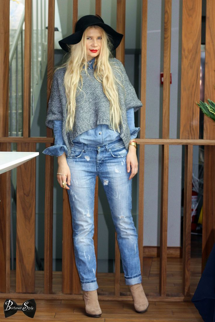 bucharest style, denim, floppy hat, boho chic, outfit