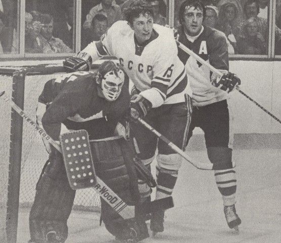 Ken Dryden and Phil Esposito vs. Soviet Player, 1972 Summit Series.