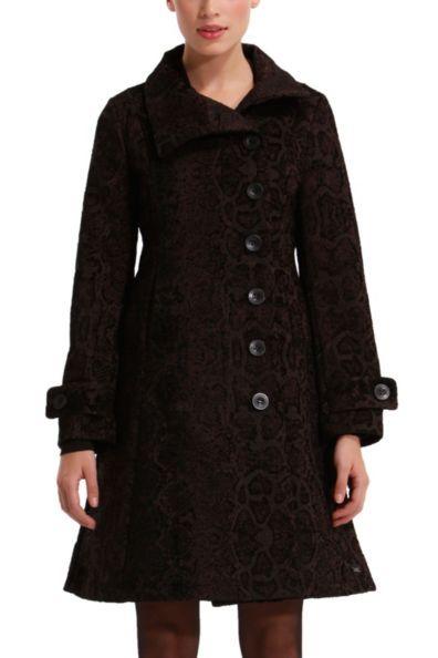 Desigual Etro Black Overcoat. Slim fit boot-cut.