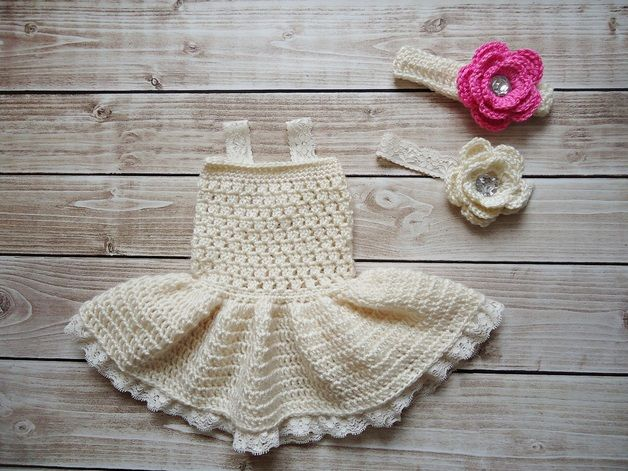 Komplet szydełkowy - sukienka i opaska- sesja foto - CudaWianki-Anna - Opaski dla niemowląt