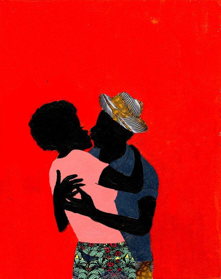 """""""Red kiss"""" (2014) ilustração de Jamilla Okubo, artista do Quênia, África…"""