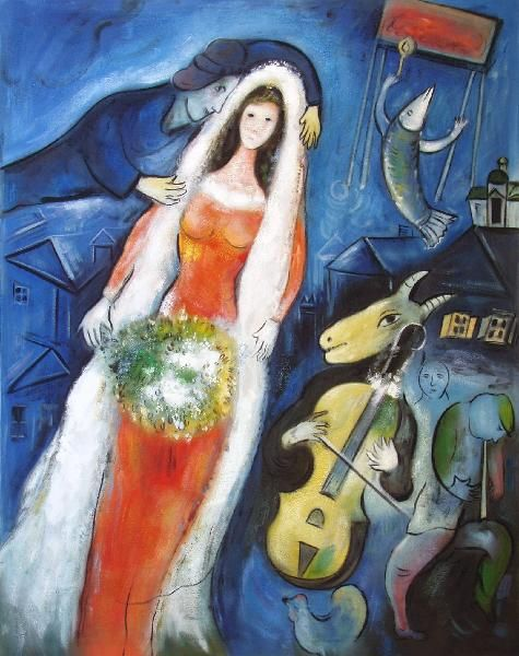 'La Mariee' (French for 'The Bride') oil on canvas painting (1950) created by Russian-French artist Marc Chagall.  His 'flying' figures represent great happiness