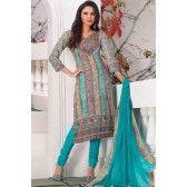 Multicolour Faux Georgette Salwar Kameez