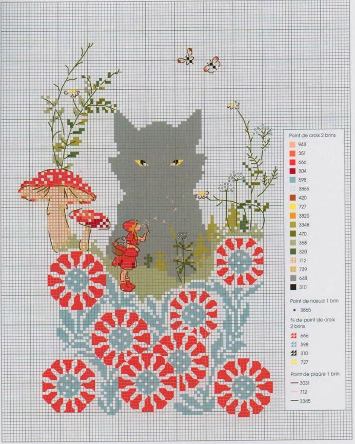 the wolf spying on red ridding hood, cross stitch