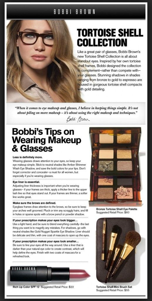 Just found out i need glasses so this will be perfect - Bobbi Brown's tips for wearing make-up with glasses
