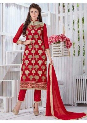 Festival Wear Red Georgette Salwar Suit