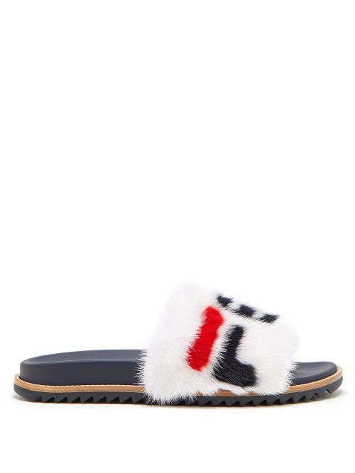 7e4b82f785649 FENDI FENDI - MANIA MINK AND LEATHER SLIDES - MENS - WHITE MULTI.  fendi   shoes