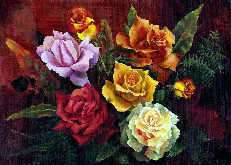 Яркие краски лета в букетах художницы Ira Rom-Lorenz