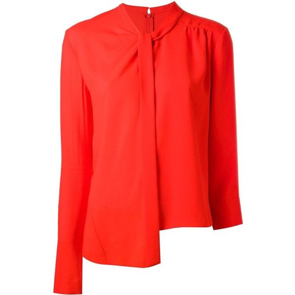 Maison Margiela asymmetric blouse featuring polyvore women's fashion clothing tops blouses red 3/4 sleeve tops three quarter sleeve tops maison margiela long sleeve asymmetric top red long sleeve top