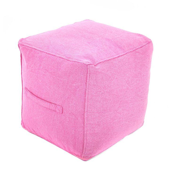 Fab.com | Canvas Square Pouf Pink