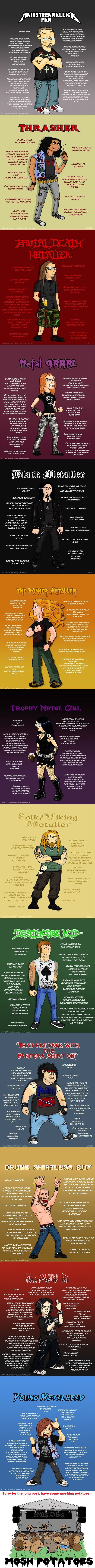 I love Rock and Metal, and I find this hilarious. Guide to different Metalhead…