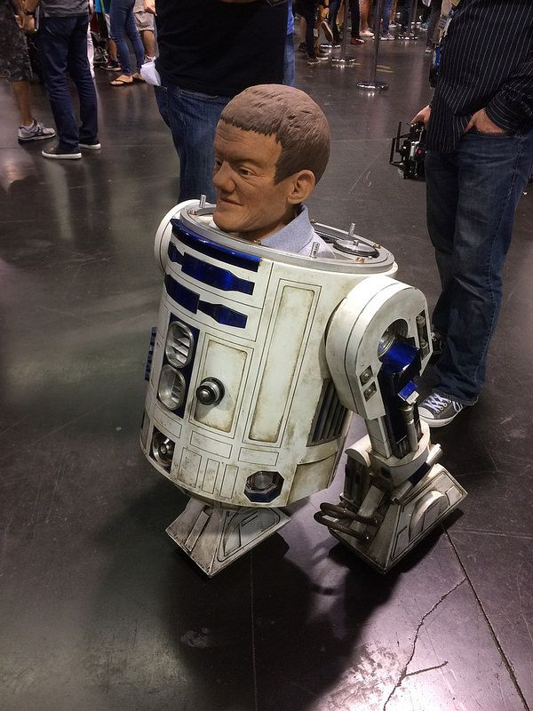 Mannequin of actor Kenny Baker (who played R2D2) inside of a working R2 prop...
