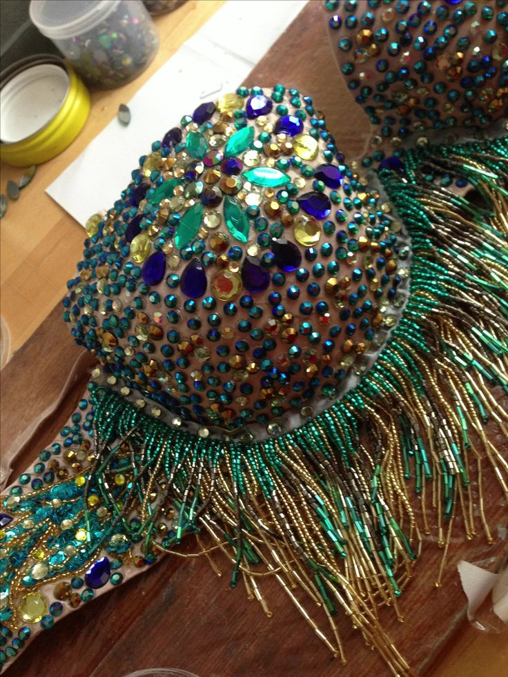 Burlesque Bellydance Peacock Colored Crystal Rhinestone Embellished Emerald Green and gold bra with beaded fringe