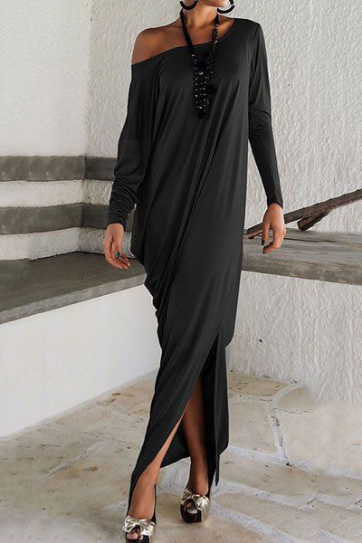 Casual Solid Color Scoop Neck Long Sleeve Loose Maxi Dress For Women