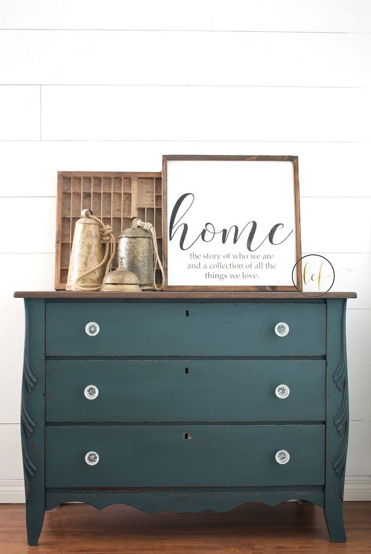Amazing curvy teal blue dresser painted with