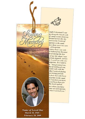 Footprints in the sand memorial bookmark template for Funeral bookmarks template free