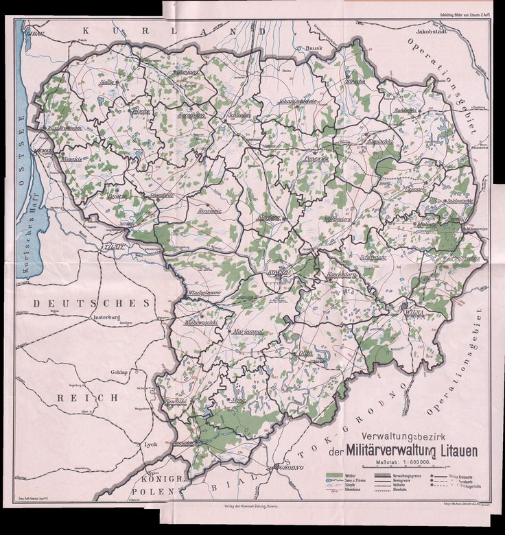 Map of german occupied Lithuania, 1917 #map #lithuania