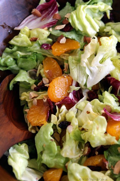 "A salad that just says ""Summer!"" Mom's Orange and Cranberry Salad via With Style & Grace"