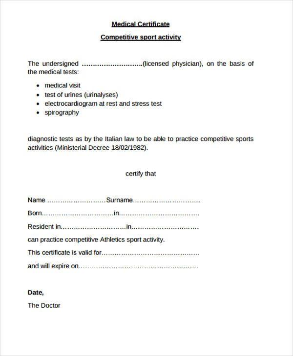 21 Medical Certificate Templates Free Printable Word Pdf
