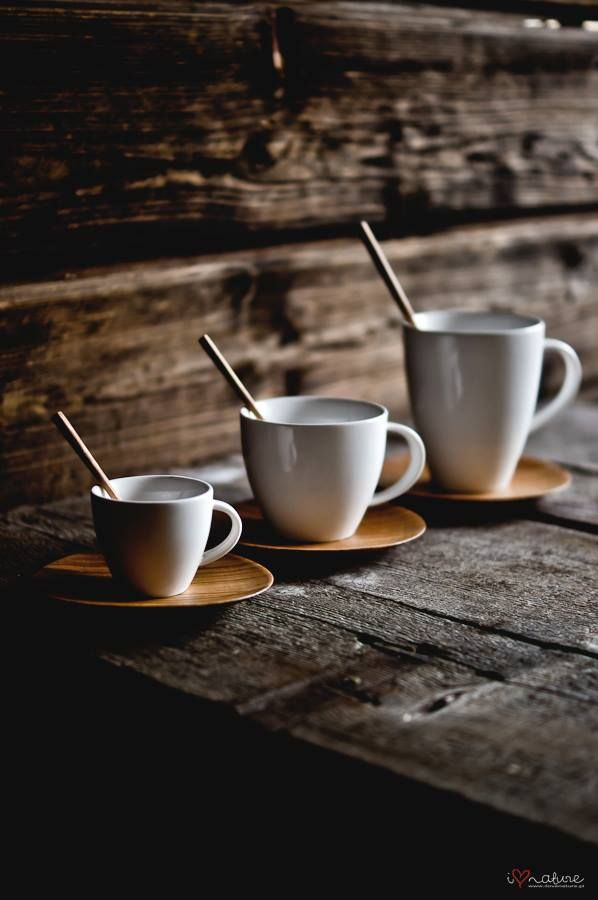 Coffee sets for espresso, cappuccino and latte with hand crafted plates and spoons