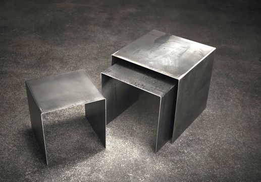 dark gray to black raw steel with a slight touch of silver. nesting tables #industrial #decor