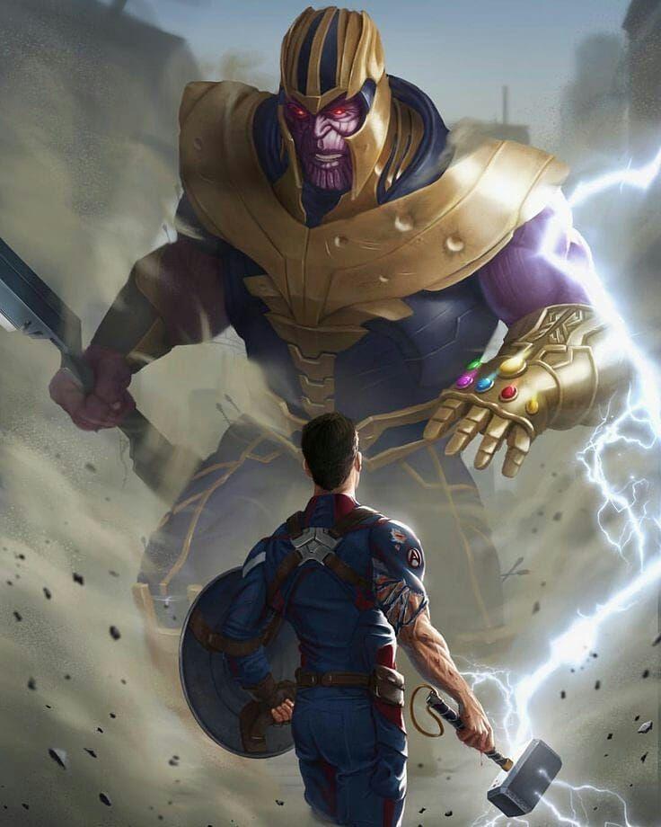 Captain America Vs Thanos Avengersinfinitywar Avengers4 Avengers Infinitywar War Warriors Captainamerica Heros Marvel Marvel Fanart Super Heros Marvel