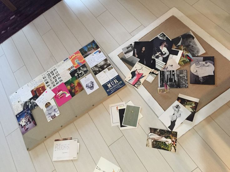 Las Vegas Home, at Chateau Nouveau, May 2015. Working out on a postcards-moodboard collage - postcards received from darling people over the last 13 years. The Miss You postcards collage.