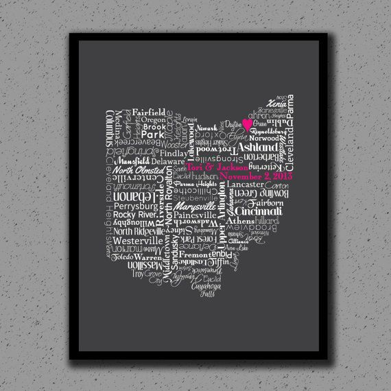 Ohio State Print, OH, State Art, State Map, Wedding, Personalized, Print, Custom, Cleveland, Columbus, Cities, City, Housewarming Gift, Ohio Art by DesignsByTenisha, $20.00