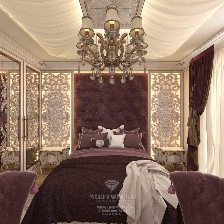 Дизайн интерьера спальни в загородном доме http://www.line-mg.ru/dizayn-spalni-bordovo-zolotistogo-cveta