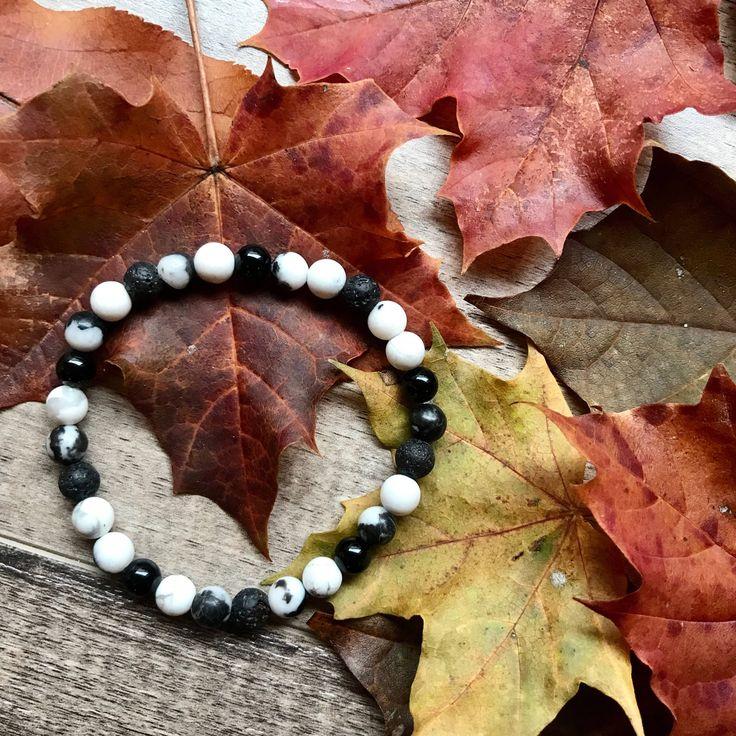 Zebra Jasper, Howlite and Onyx Diffuser Bracelet by VitaminSeaJPS on Etsy https://www.etsy.com/ca/listing/572310571/zebra-jasper-howlite-and-onyx-diffuser