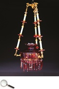 A Red Bohemian Glass Chandelier, 20th century